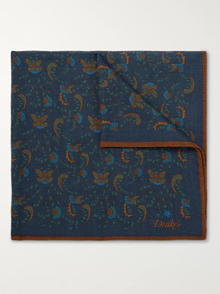 Drake's Printed Wool and Silk-Blend Pocket Square