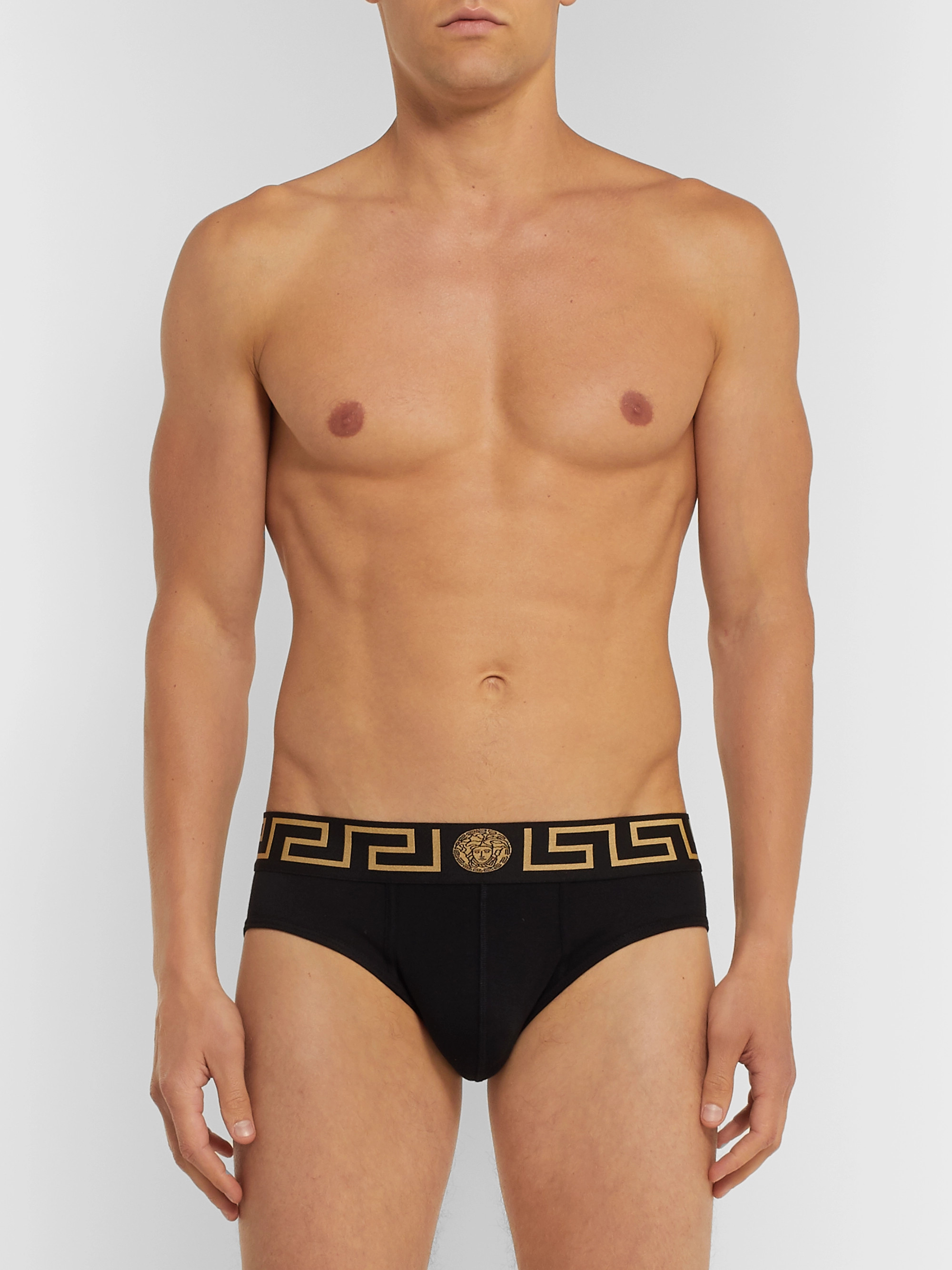 Versace Two-Pack Logo-Detailed Stretch-Cotton Briefs
