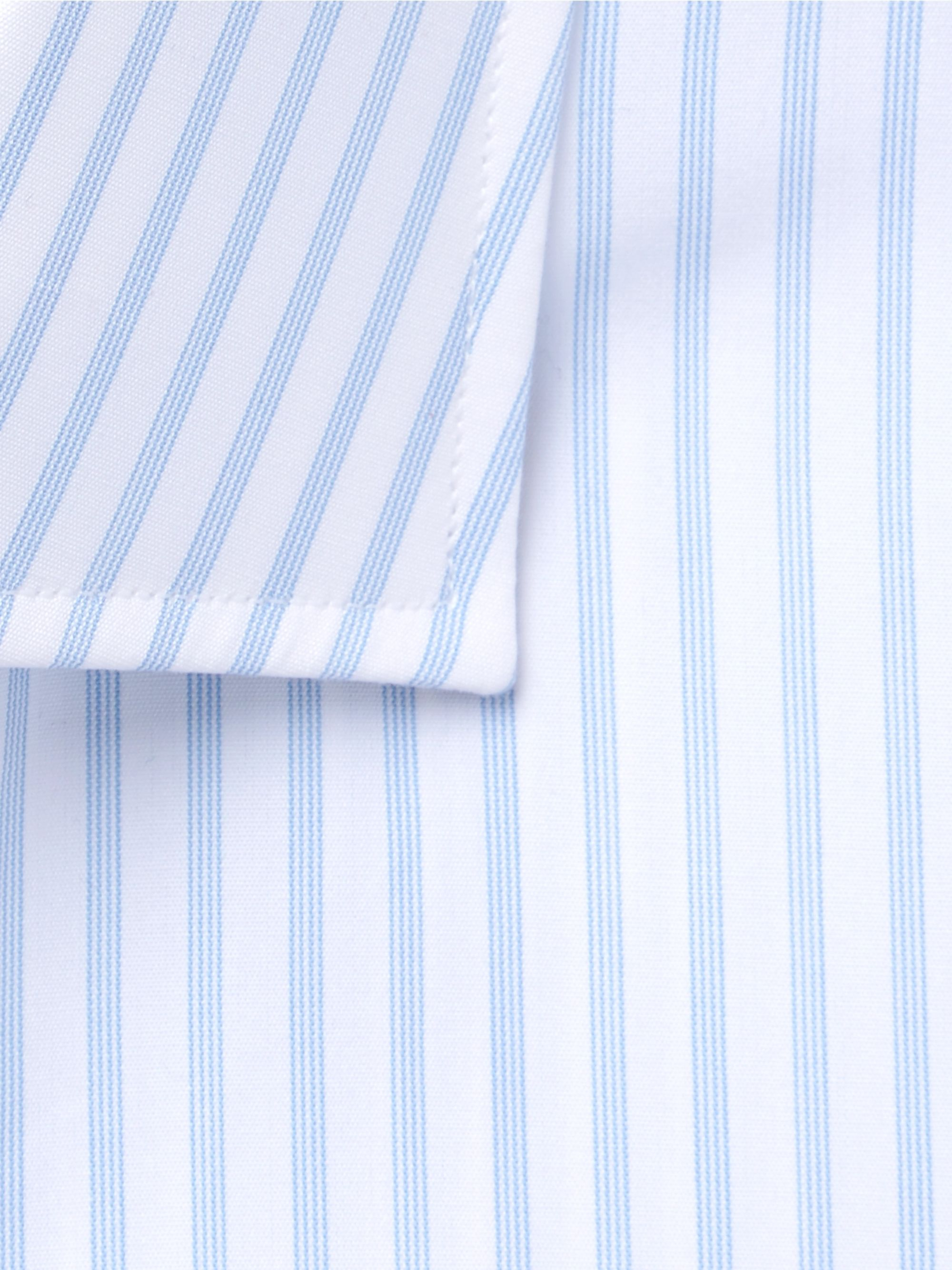 Turnbull & Asser Blue Cutaway-Collar Striped Cotton-Poplin Shirt