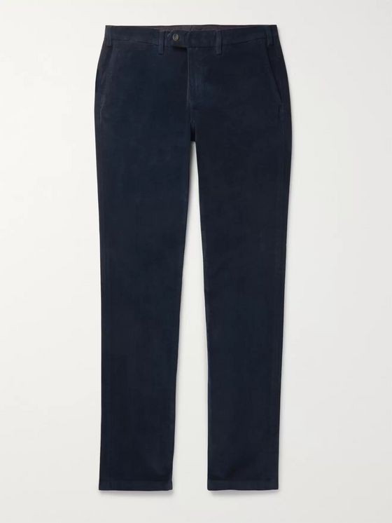 Canali Black Cotton-Blend Corduroy Trousers