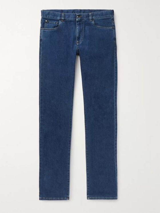 Canali Stretch Cotton and Cashmere-Blend Jeans