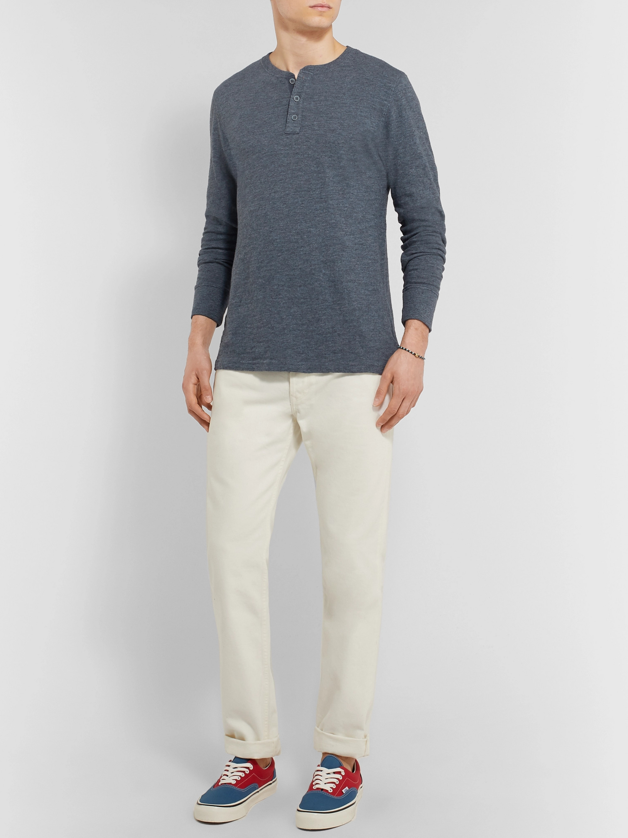 Faherty Slim-Fit Slub Cotton-Jersey Henley T-Shirt