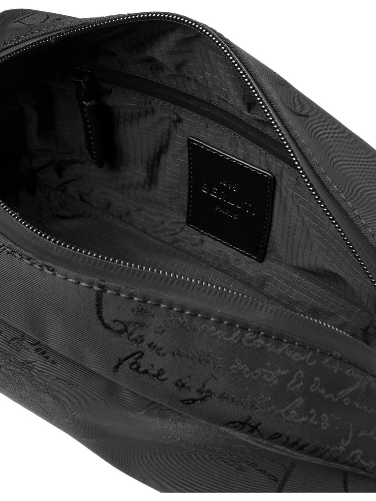 Berluti Leather-Trimmed Nylon-Jacquard Wash Bag