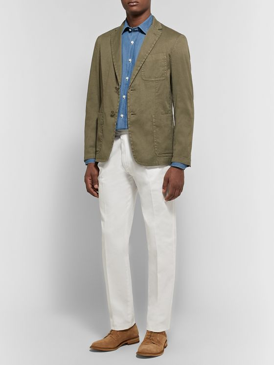 Rubinacci Manny Tapered Pleated Cotton-Twill Trousers