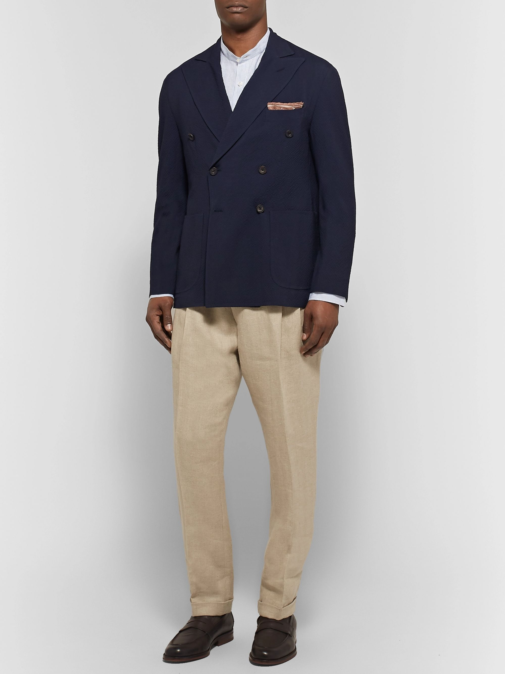 Rubinacci Navy Unstructured Double-Breasted Wool-Seersucker Blazer