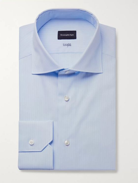 Ermenegildo Zegna Light-Blue Slim-Fit 100Fili Cutaway-Collar Pinstriped Cotton-Poplin Shirt