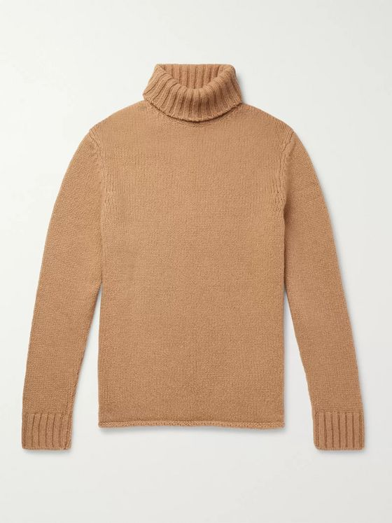 Ermenegildo Zegna Camel Hair-Blend Rollneck Sweater