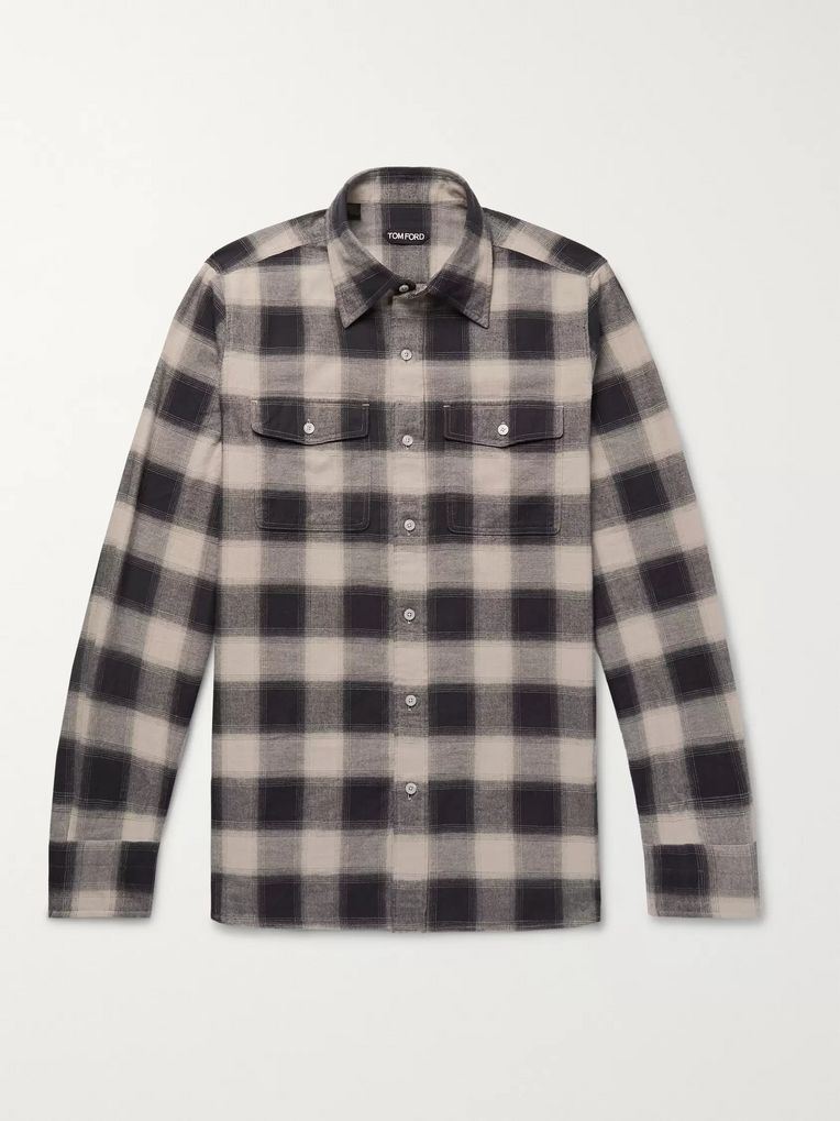 TOM FORD Buffalo Check Cotton-Flannel Shirt