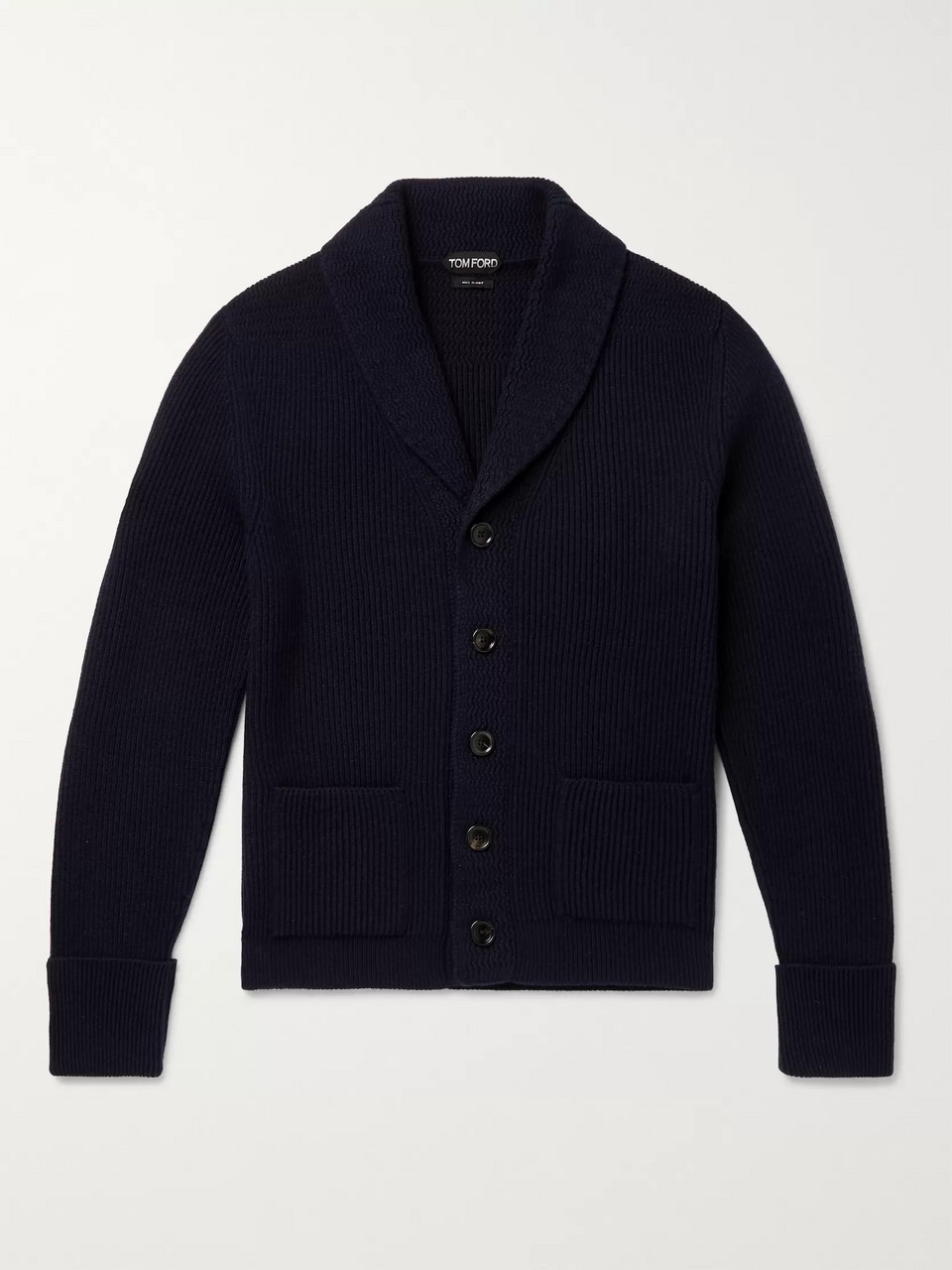 TOM FORD Shawl-Collar Ribbed Cashmere Cardigan
