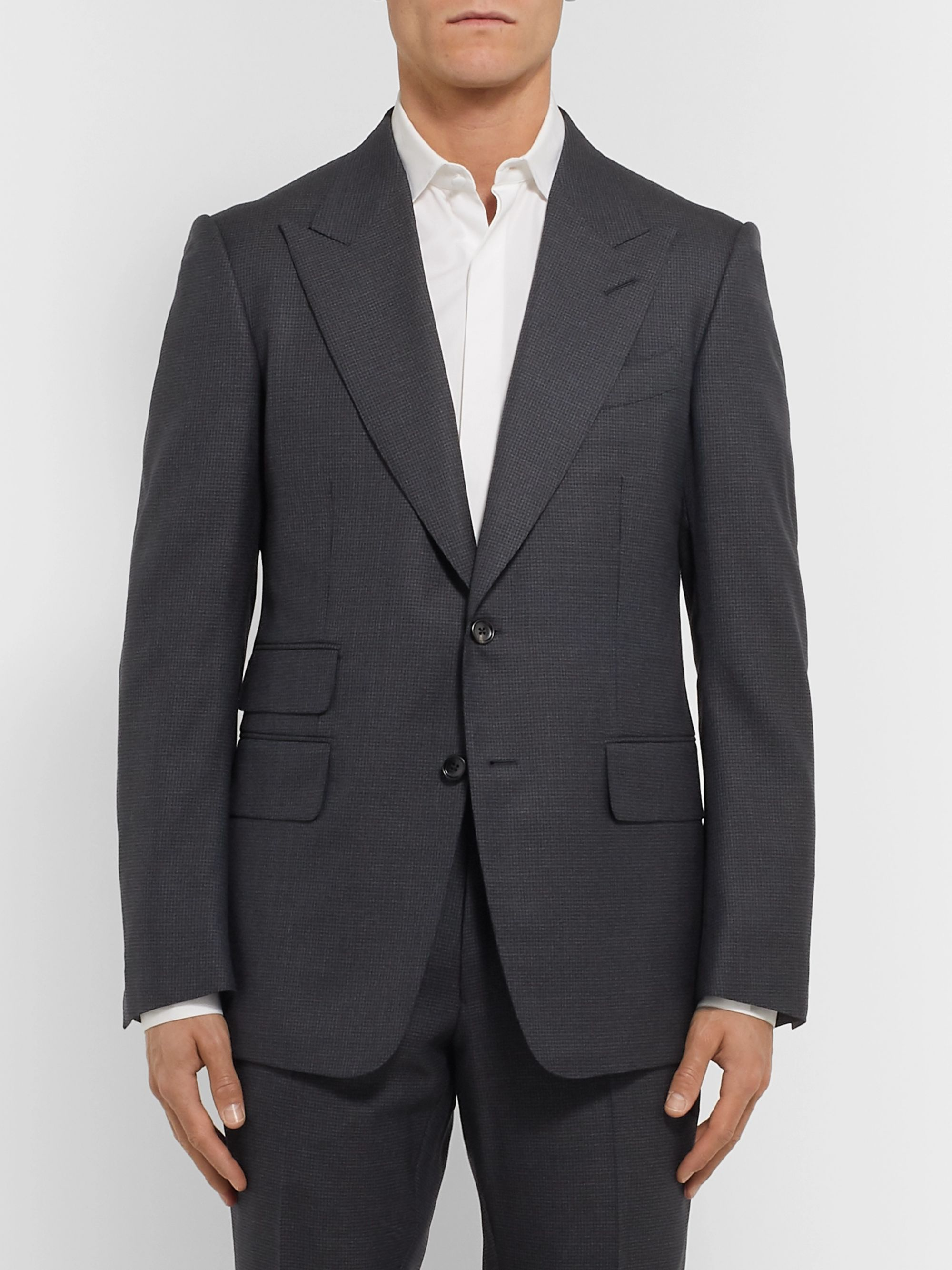 TOM FORD Navy Shelton Slim-Fit Puppytooth Wool Suit Jacket