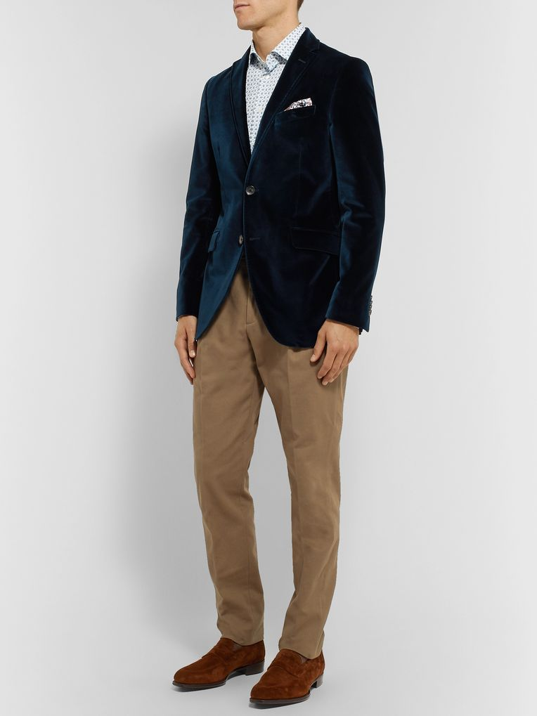 Etro Black Slim-Fit Stretch-Cotton Velvet Blazer