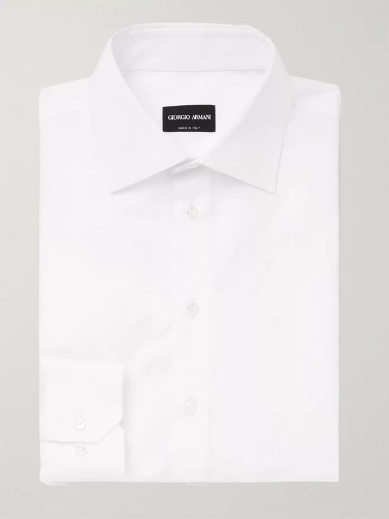 Giorgio Armani White Slim-Fit Cotton-Poplin Shirt