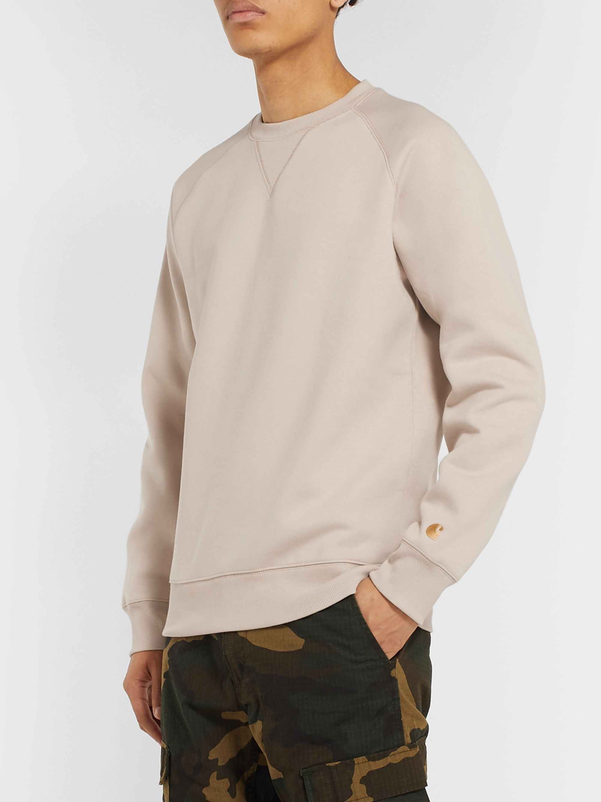 Chase Logo Embroidered Fleece Back Cotton Blend Jersey Sweatshirt