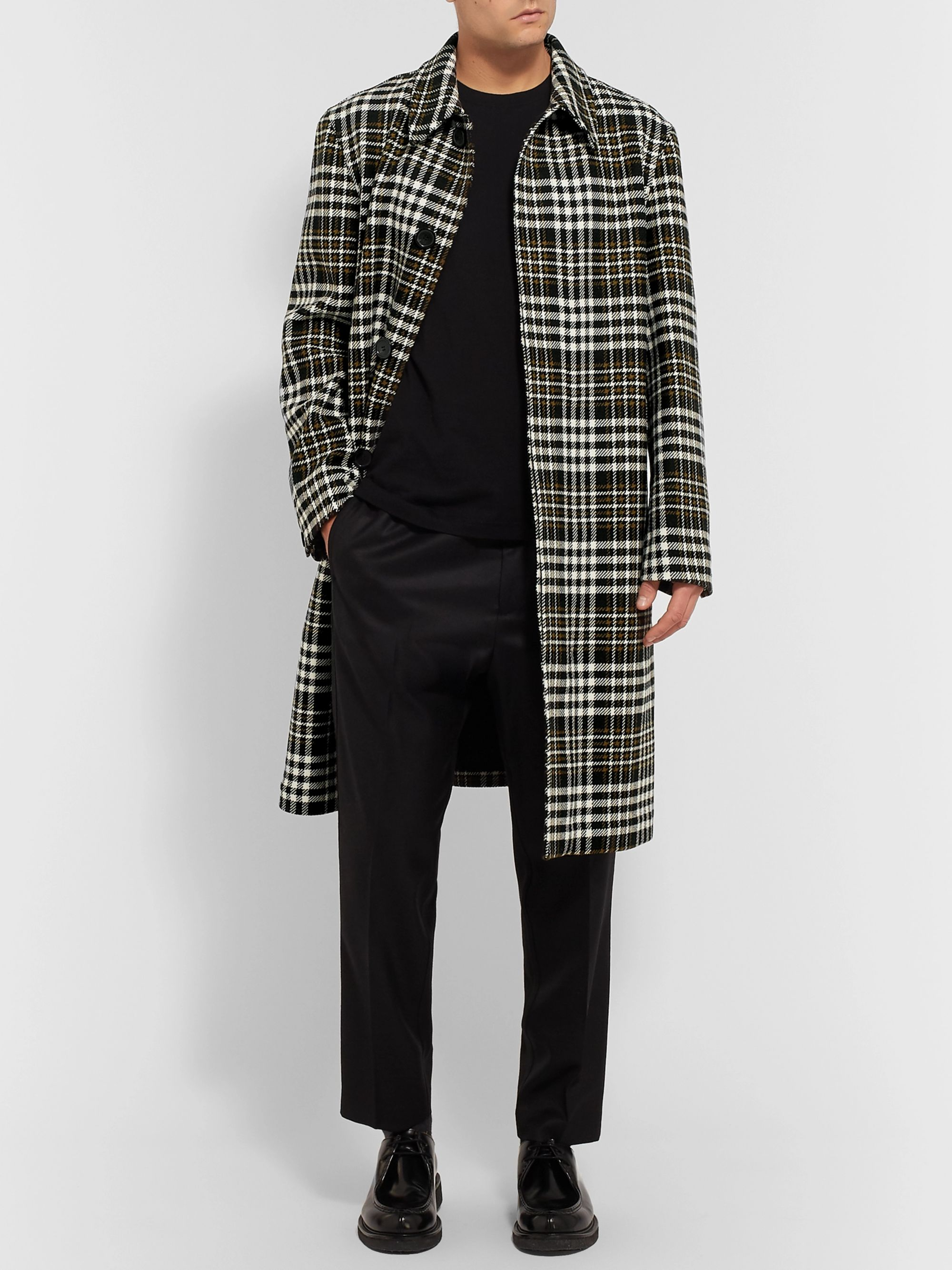 AMI Oversized Checked Wool-Blend Coat