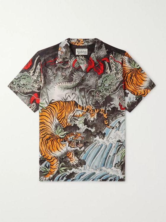 Wacko Maria + Tim Lehi Camp-Collar Printed Voile Shirt
