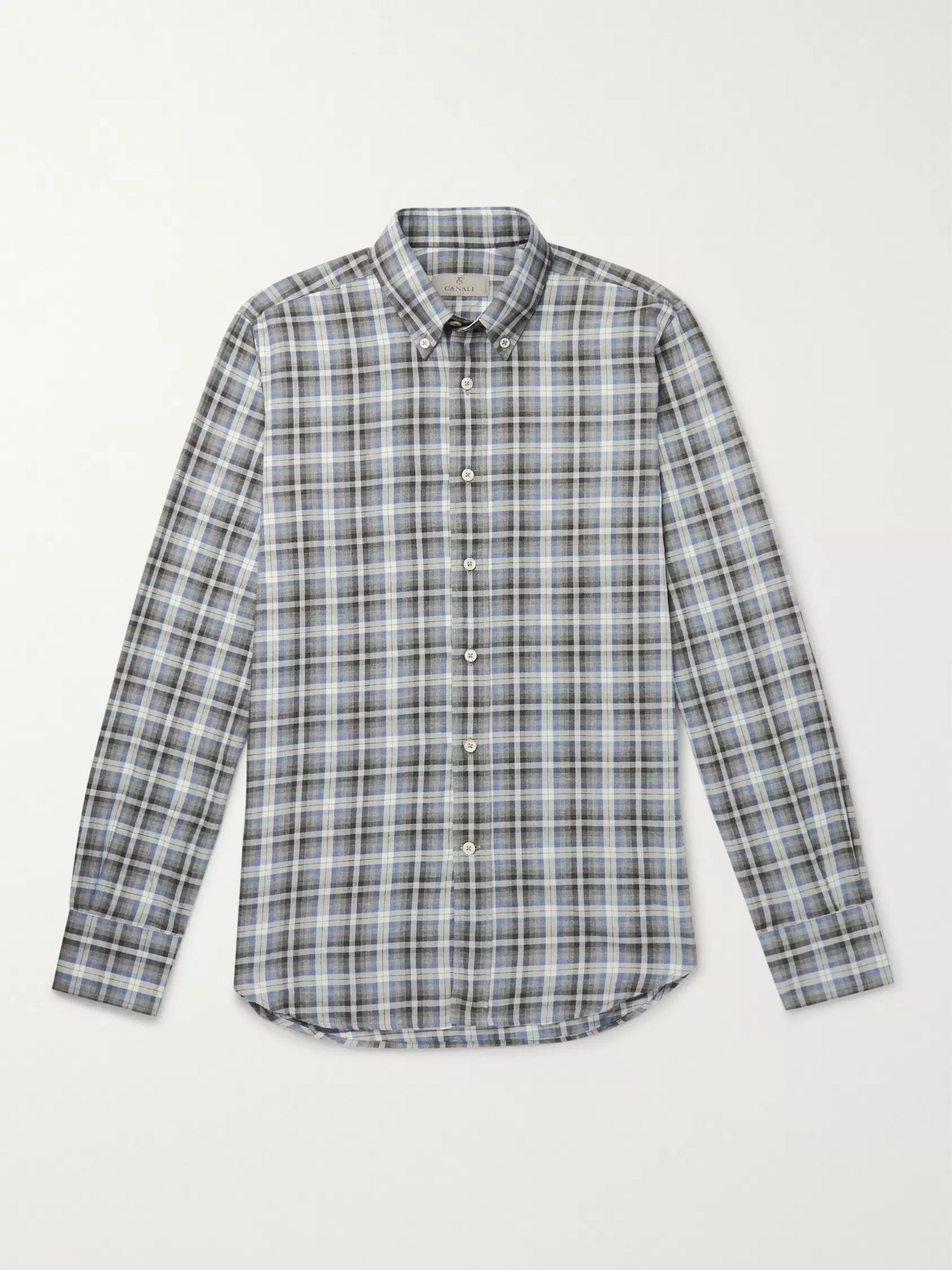Canali Slim-Fit Checked Cotton-Flannel Shirt