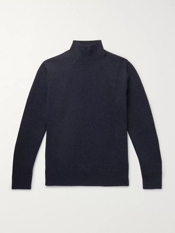 Thom Sweeney Mélange Wool and Cashmere-Blend Mock-Neck Sweater