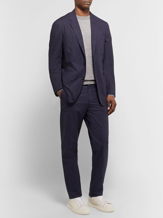 Ermenegildo Zegna Navy Garment-Dyed Stretch-Cotton Suit Trousers