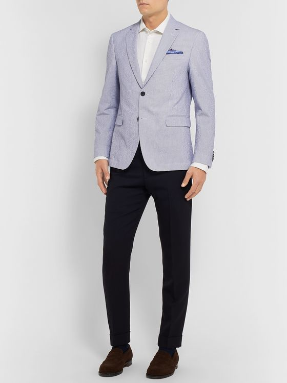 Hugo Boss Blue Nobis Unstructured Striped Cotton-Blend Seersucker Blazer