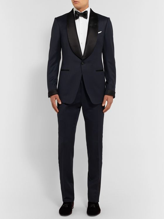 TOM FORD Midnight-Blue Shelton Slim-Fit Satin-Trimmed Grain de Poudre Tuxedo Jacket