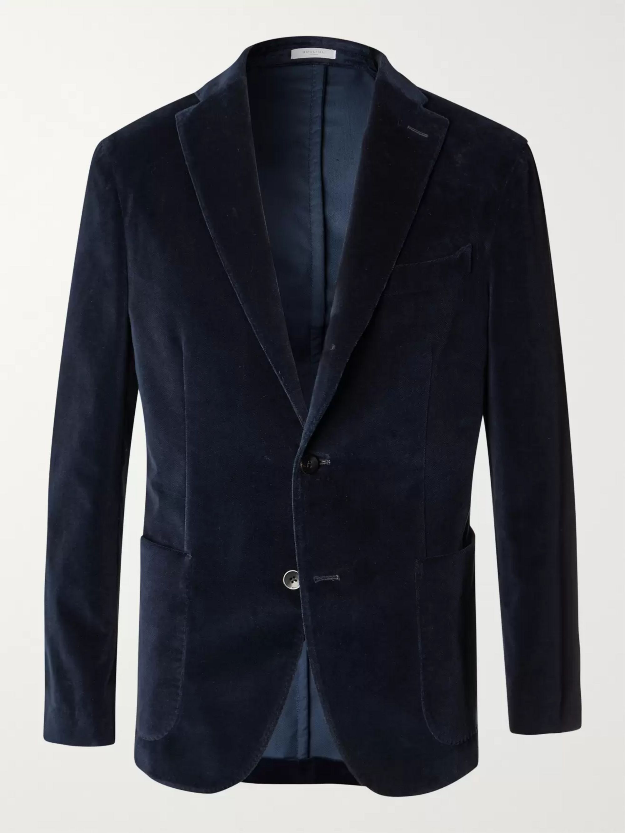 Boglioli Navy K-Jacket Slim-Fit Unstructured Stretch-Cotton Velvet Blazer