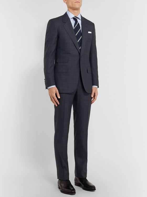Kingsman Navy Slim-Fit Prince of Wales Checked Wool Suit Trousers