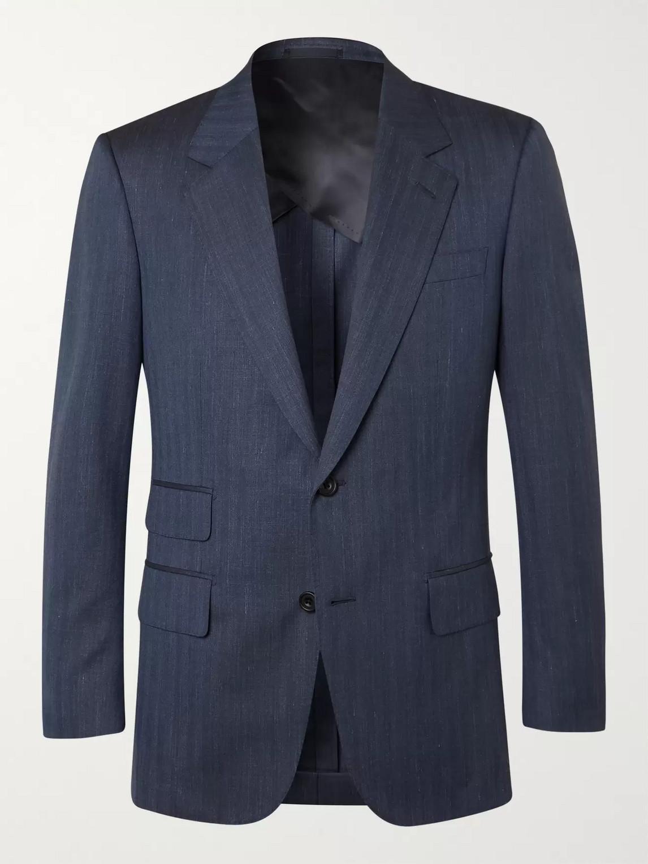 kingsman - navy unstructured herringbone wool, silk and linen-blend suit jacket - men - blue