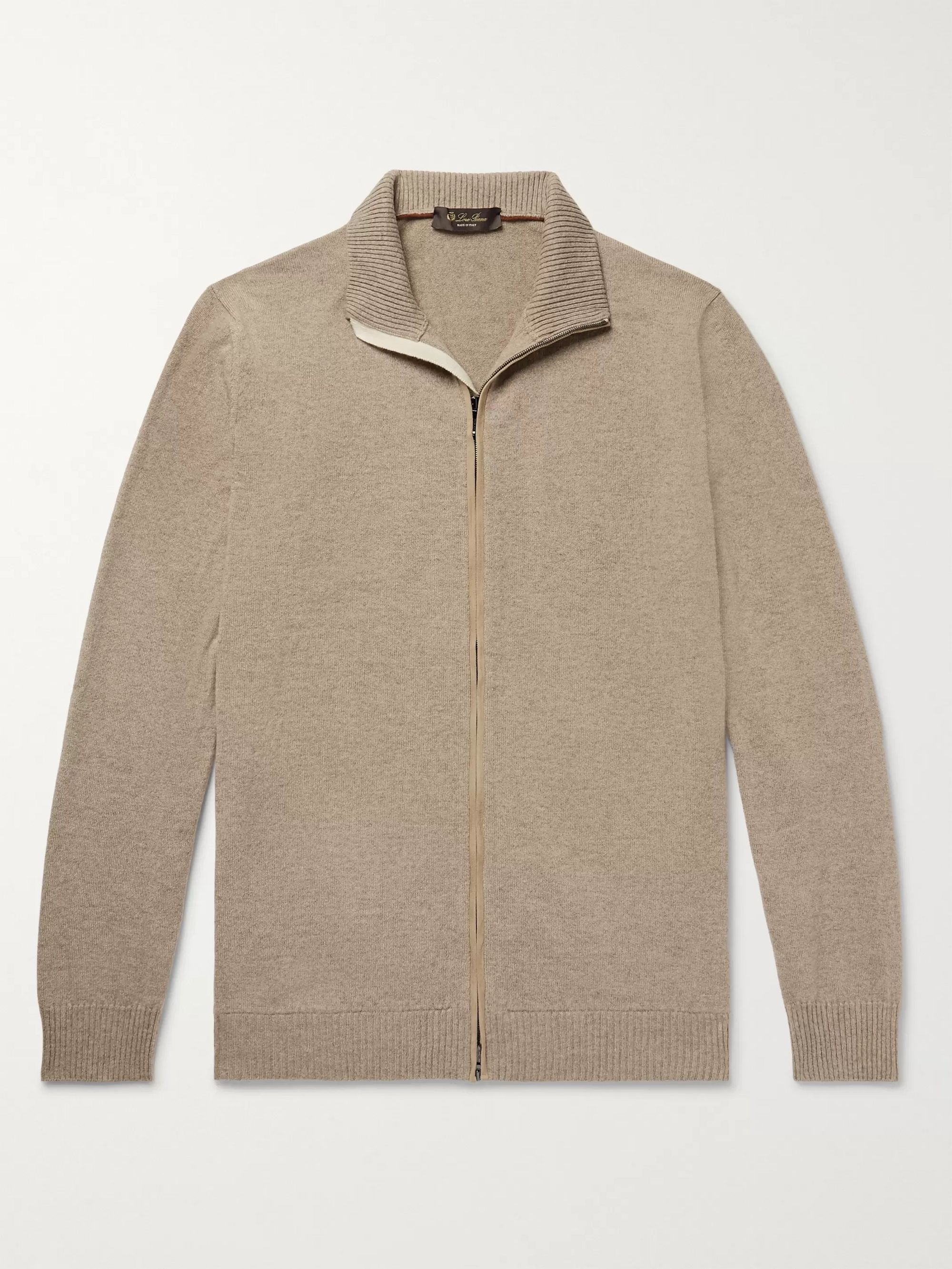 Loro Piana Suede-Trimmed Mélange Cashmere Zip-Up Cardigan