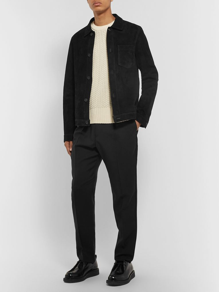 AMI Slim-Fit Suede Blouson Jacket