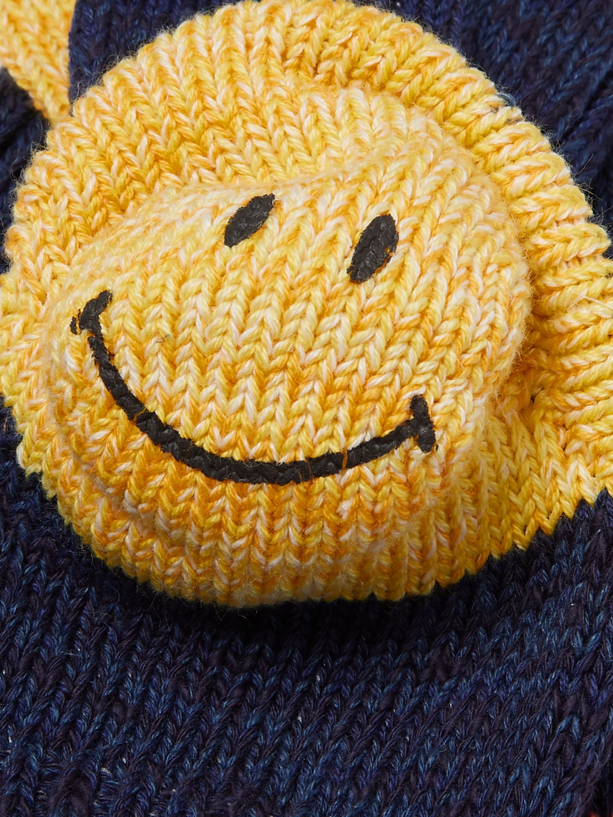 KAPITAL Smiley Striped Mélange Cotton and Hemp-Blend Socks