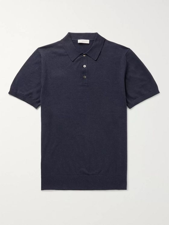 Richard James Slim-Fit Mélange Cotton-Jersey Polo Shirt