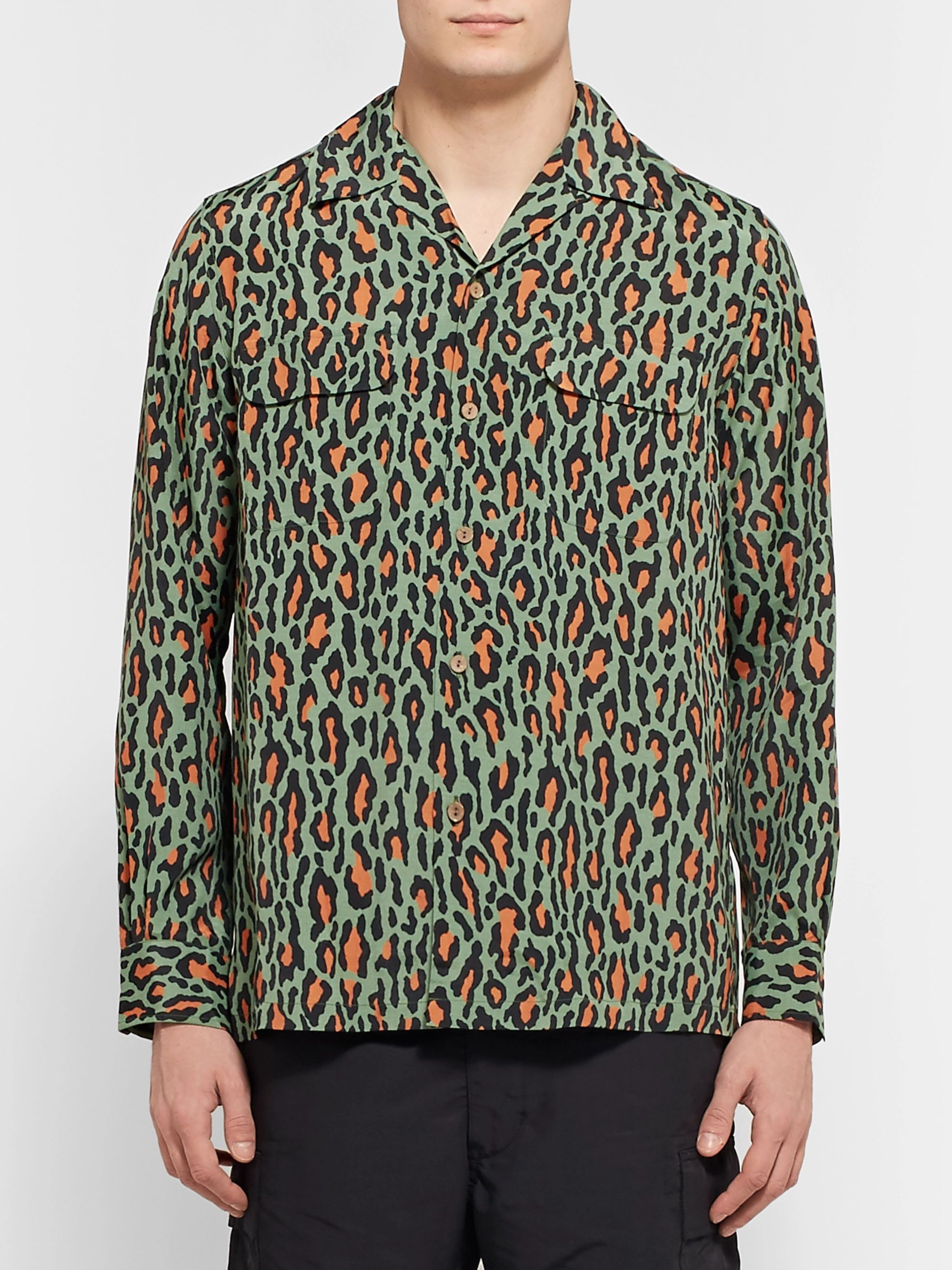 Wacko Maria Camp-Collar Leopard-Print Cotton Shirt