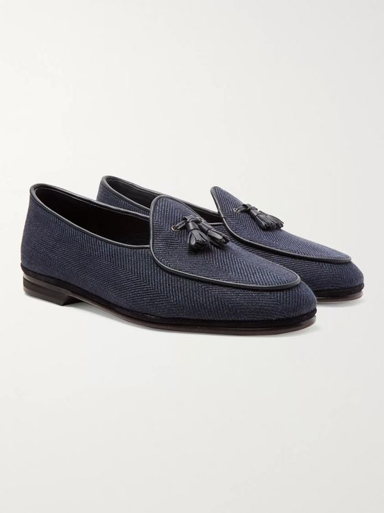 Rubinacci Marphy Leather and Suede-Trimmed Herringbone Linen Tasselled Loafers