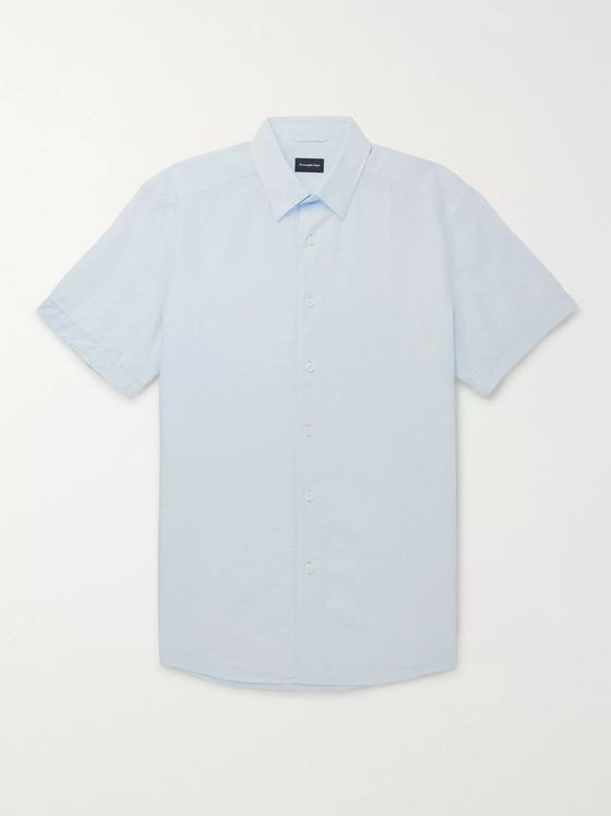 Ermenegildo Zegna Cotton and Linen-Blend Seersucker Shirt