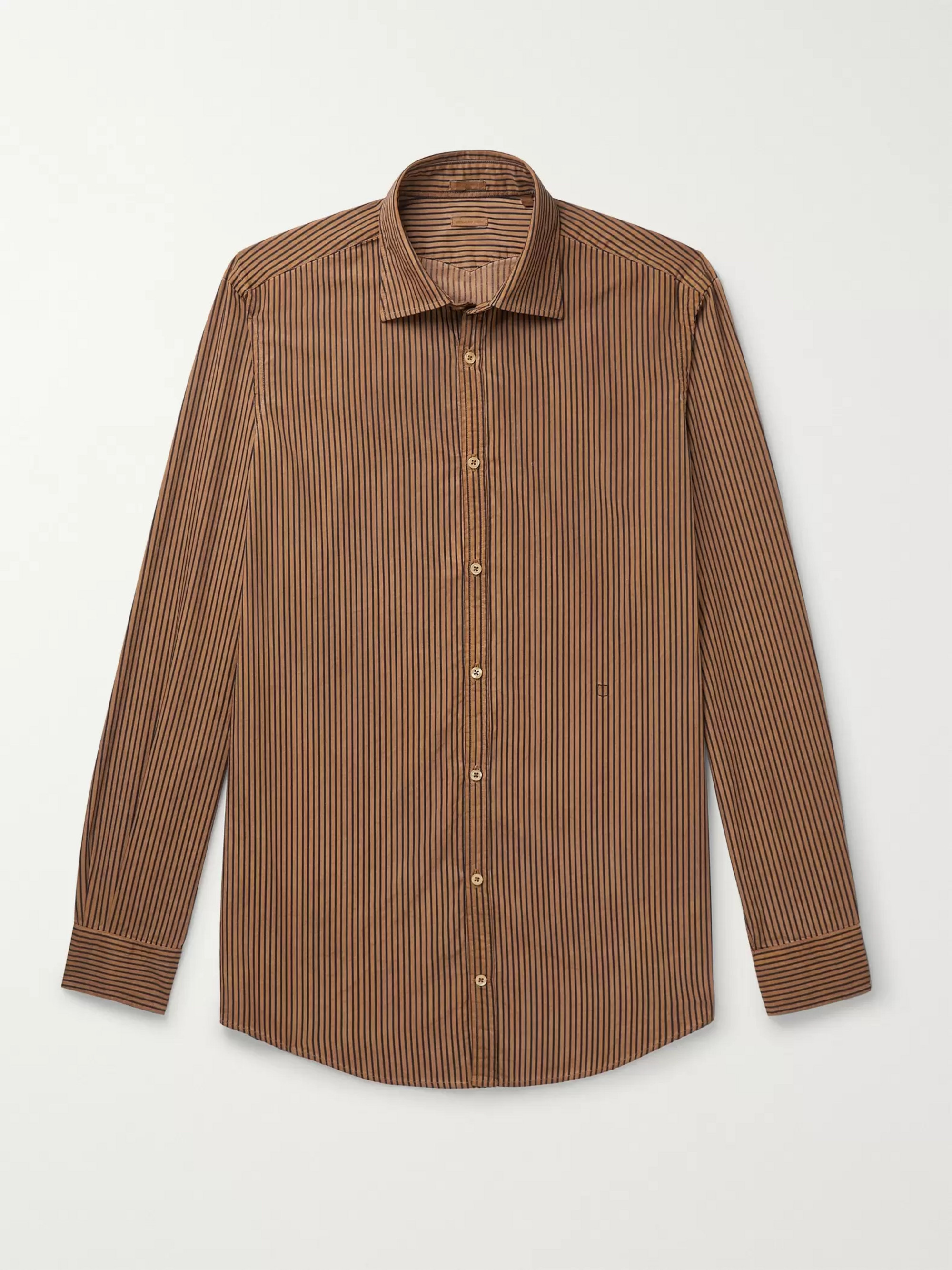 Massimo Alba Striped Watercolour-Dyed Cotton Shirt