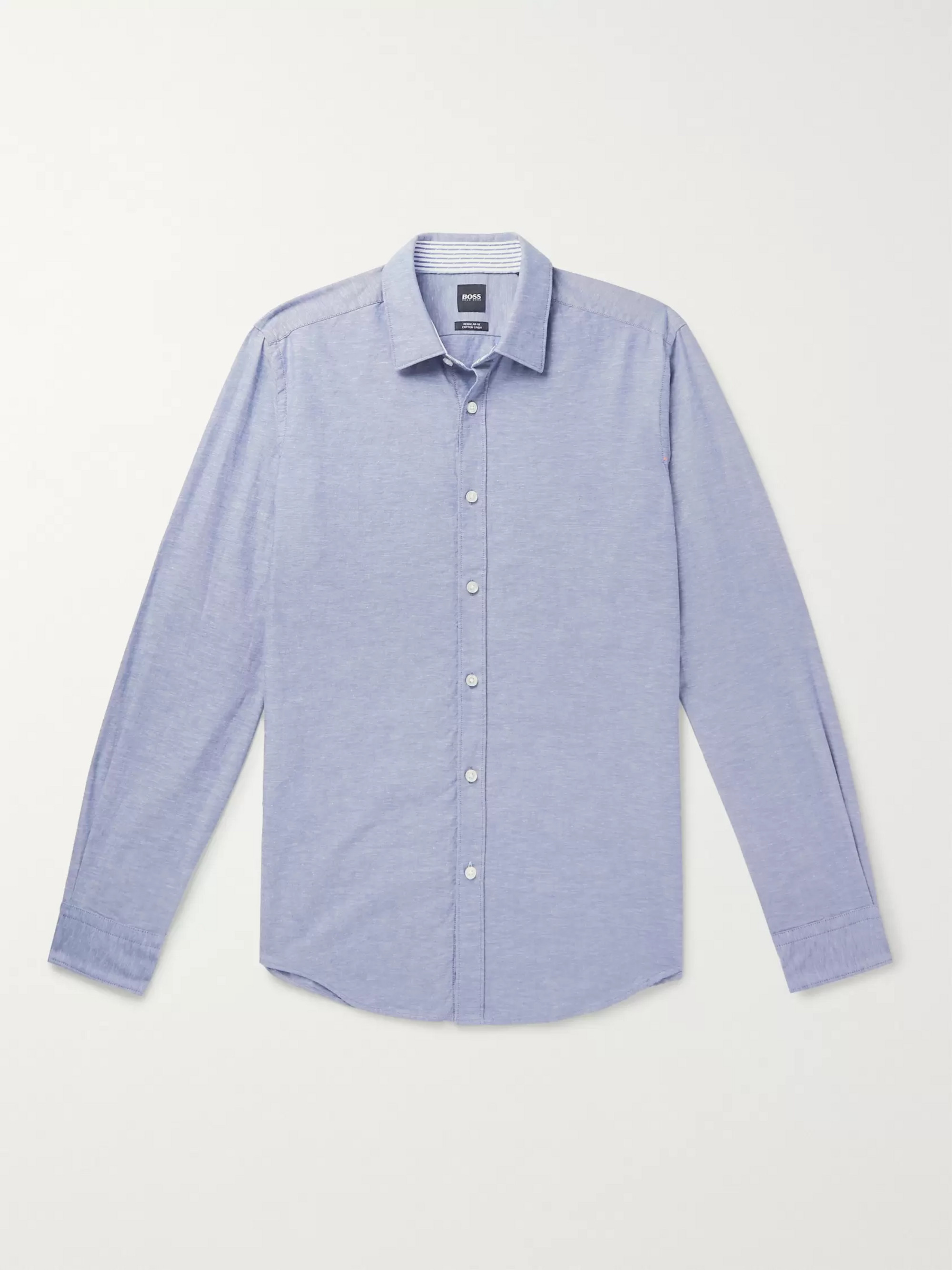 Hugo Boss Lukas Cotton and Linen-Blend Shirt