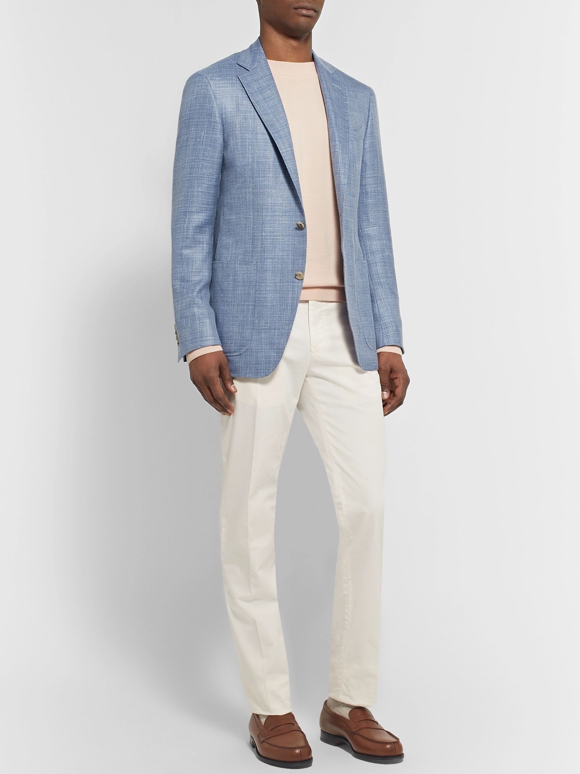 Canali Blue Kei Slim-Fit Mélange Wool, Silk, Linen-Blend Blazer
