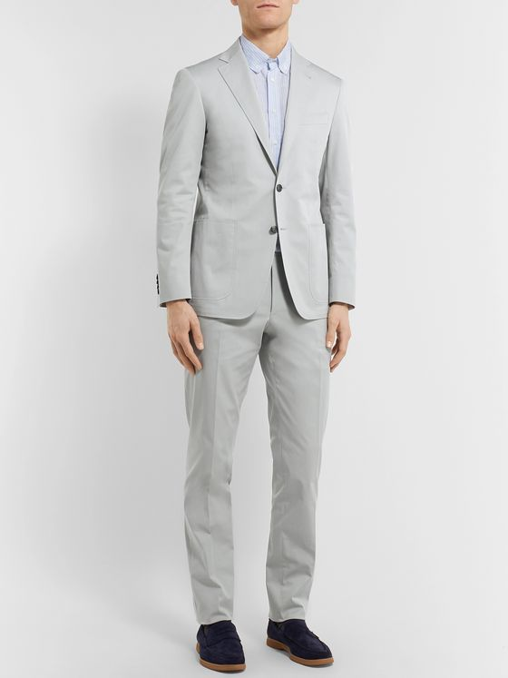 Canali Dark-Beige Kei Slim-Fit Stretch-Cotton Twill Suit Jacket