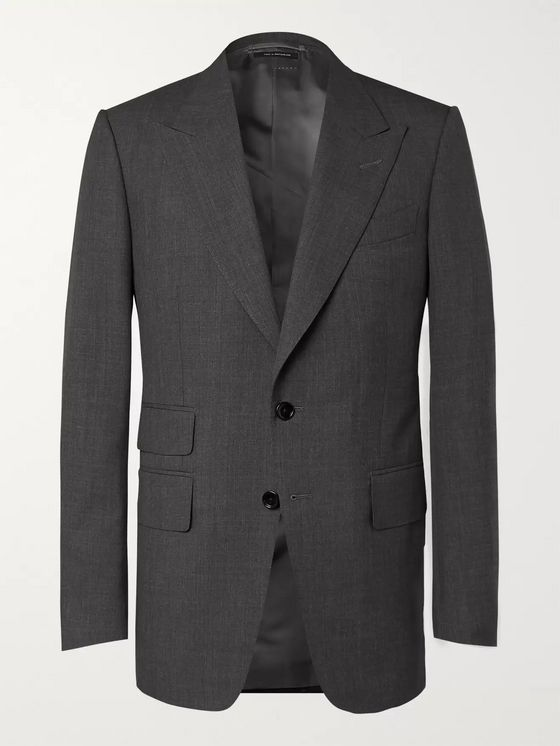 TOM FORD Dark-Grey Shelton Slim-Fit Super 120s Wool Suit Jacket