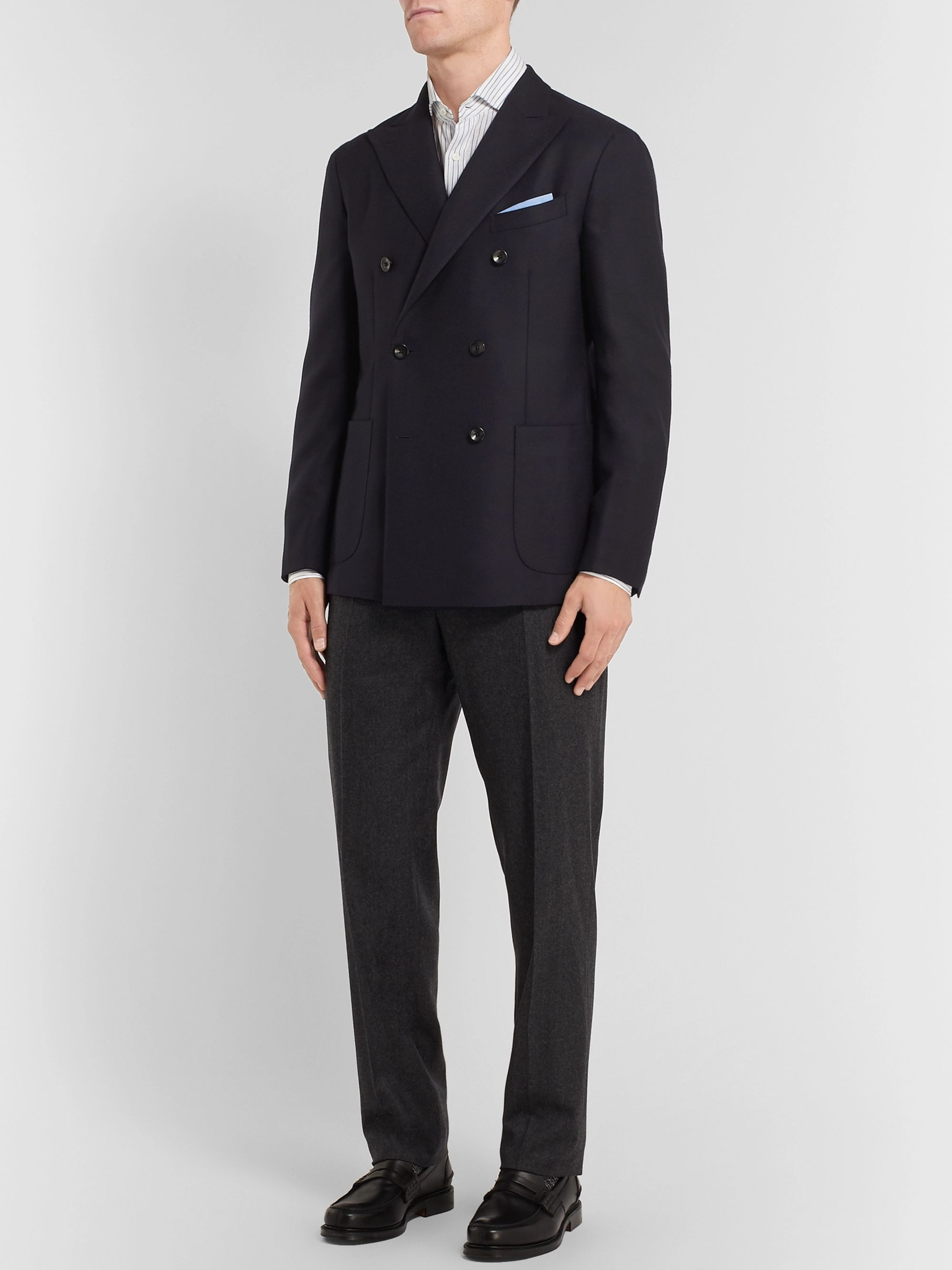 Boglioli Black Unstructured Double-Breasted Virgin Wool-Hopsack Blazer