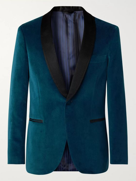 MP Massimo Piombo Petrol Hugo Grosgrain-Trimmed Cotton-Velvet Tuxedo Jacket