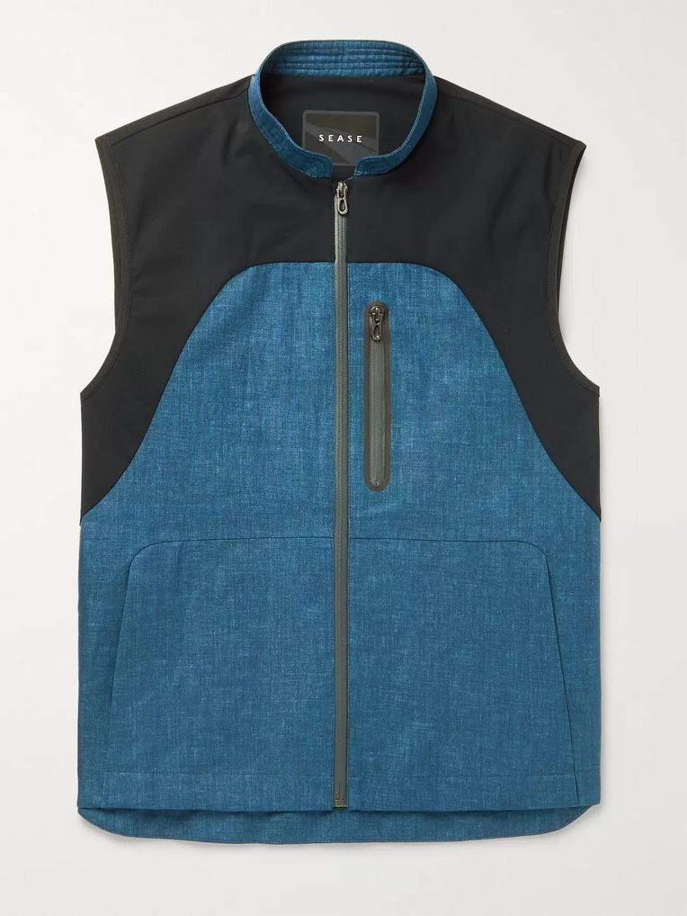 Sease Low Pressure Panelled Linen and Stretch-Nylon Gilet