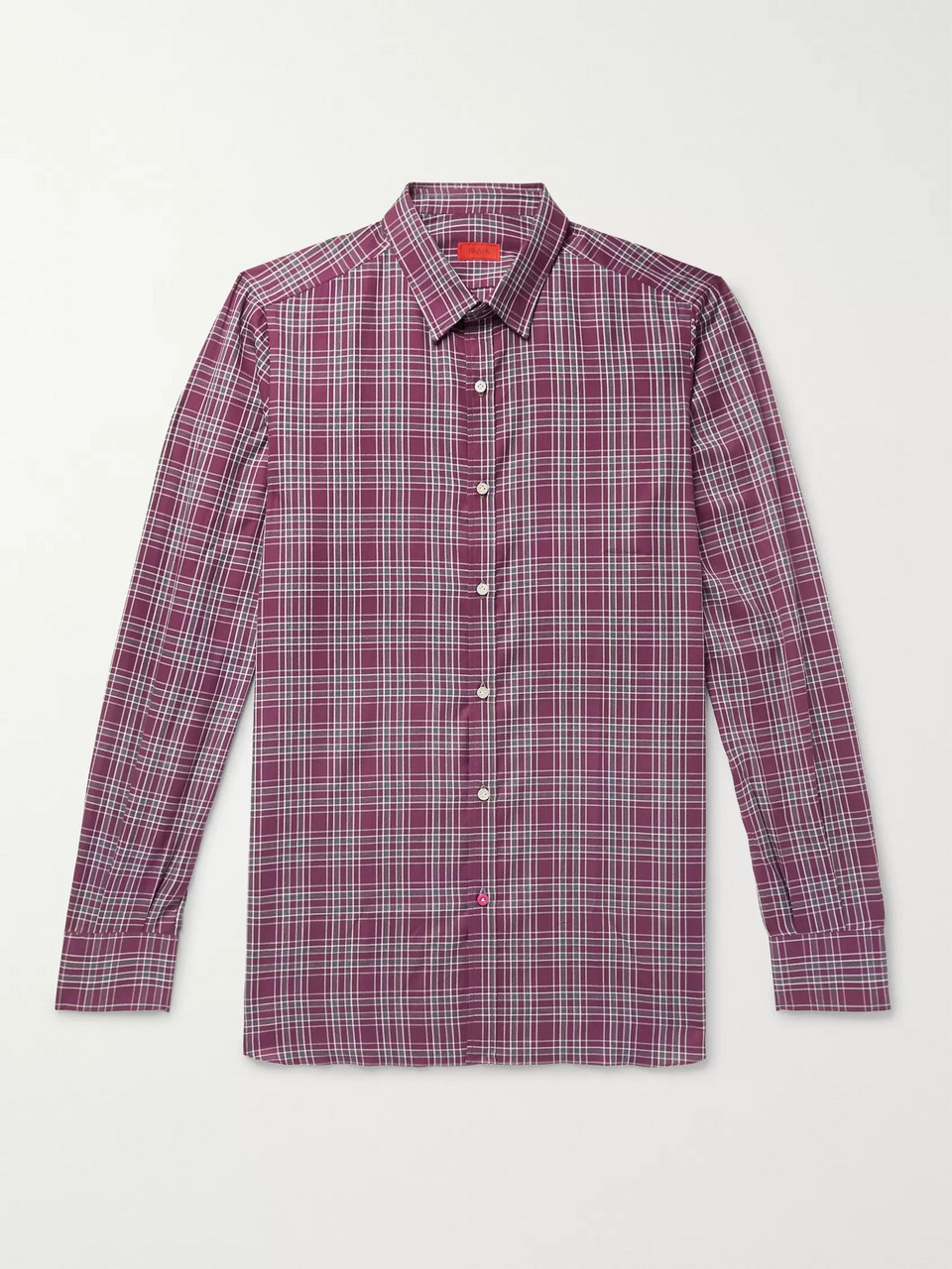 Isaia Slim-Fit Checked Cotton-Poplin Shirt