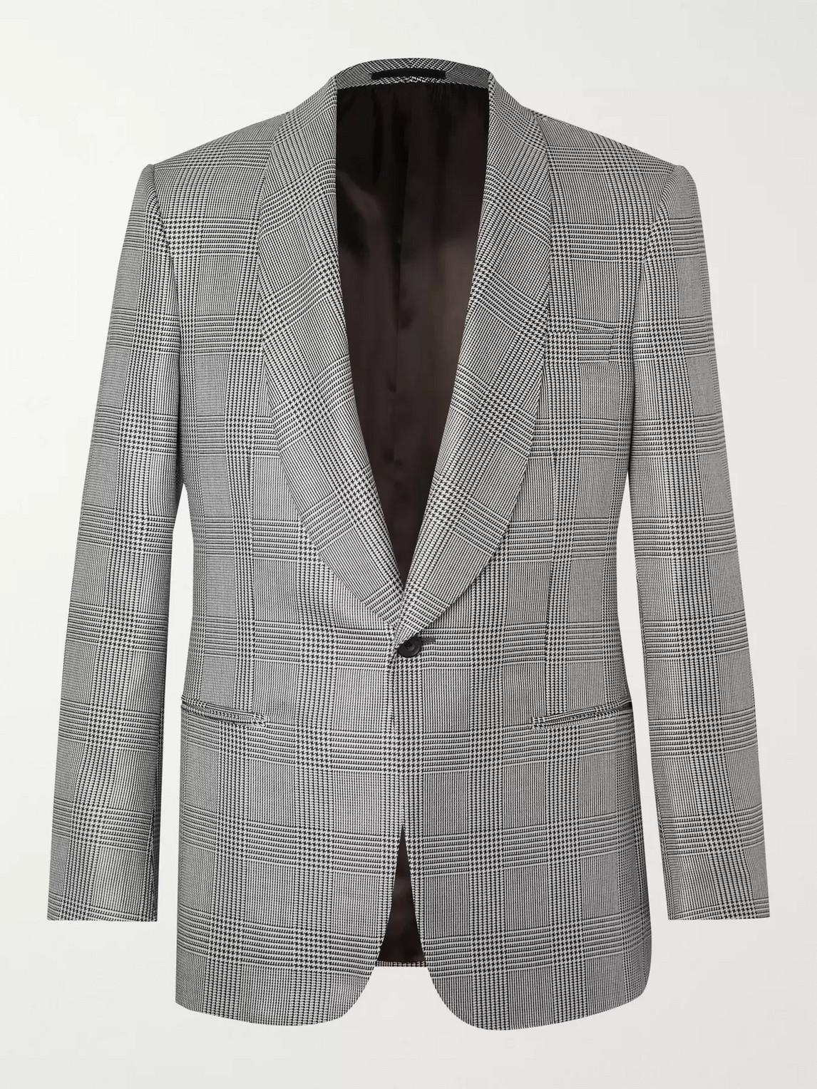 kingsman - black prince of wales checked wool and silk-blend tuxedo jacket - men - black