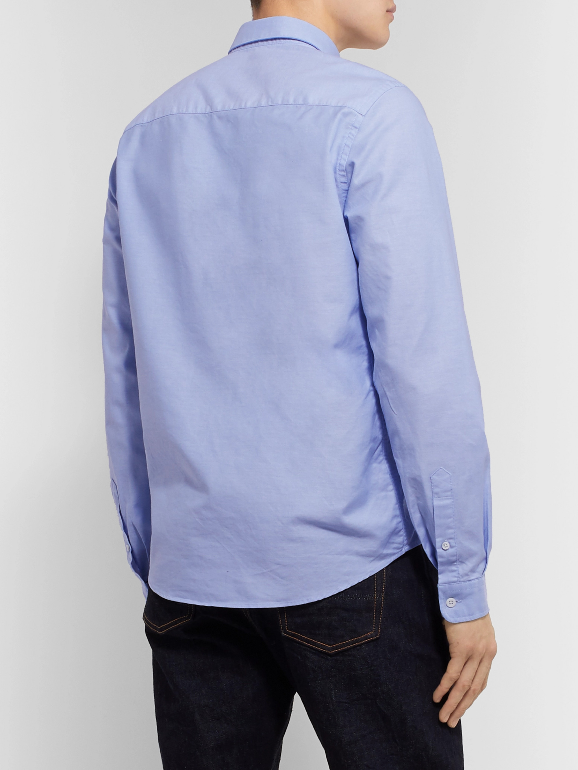 AMI Slim-Fit Logo-Appliquéd Button-Down Collar Cotton Oxford Shirt