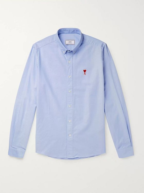 AMI Slim-Fit Button-Down Collar Logo-Appliquéd Cotton Oxford Shirt