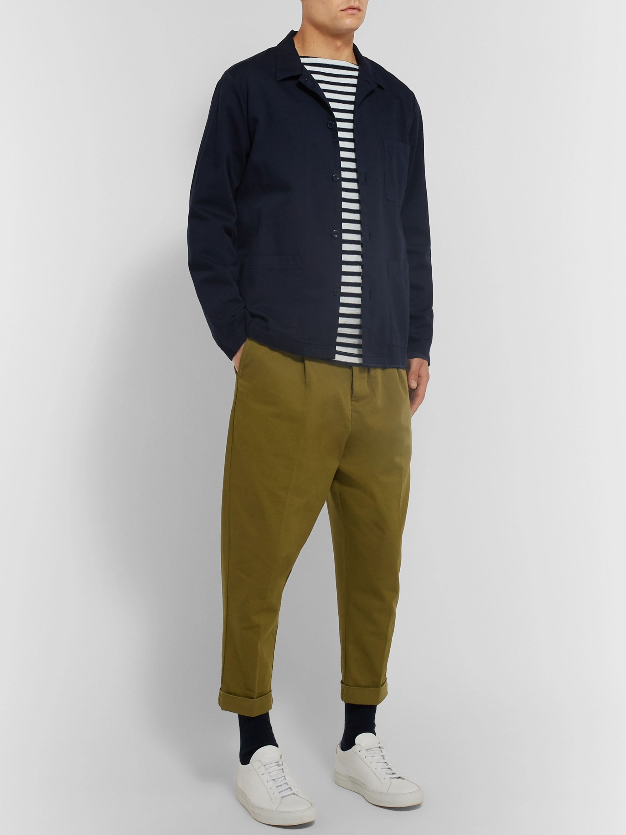 AMI Pleated Cotton-Twill Chinos