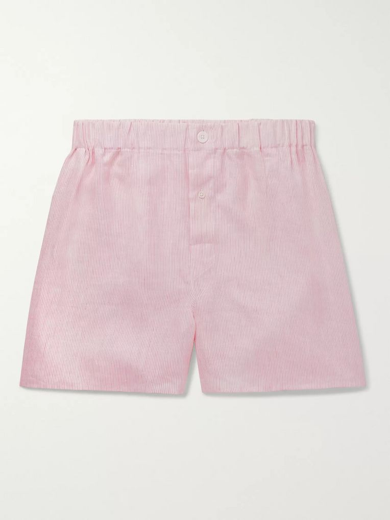 Emma Willis Striped Linen Boxer Shorts