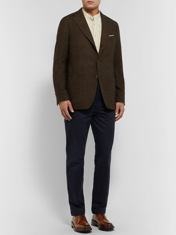 Drake's Unstructured Puppytooth Wool Blazer