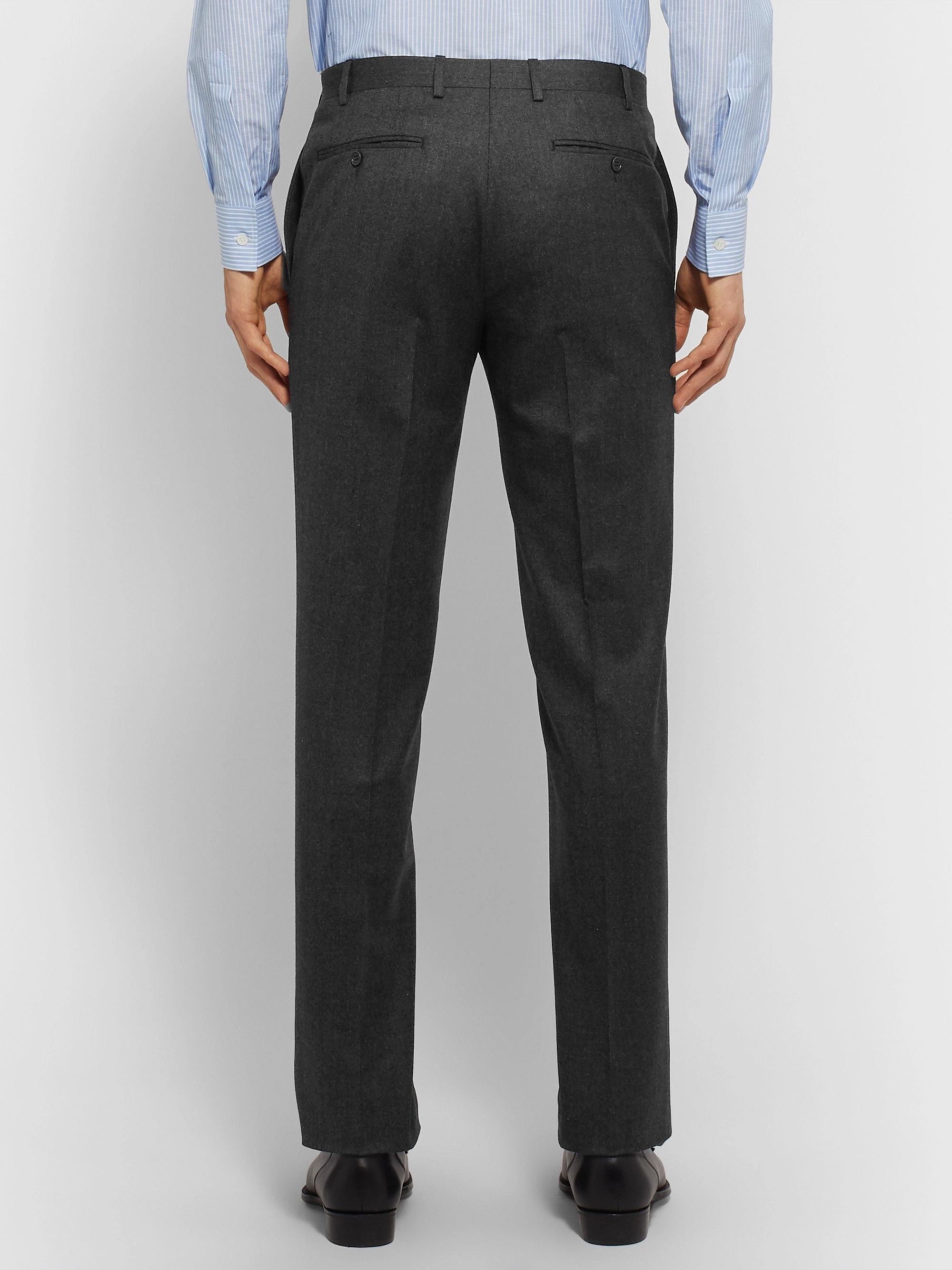 Canali Charcoal Super 120s Virgin Wool Suit Trousers